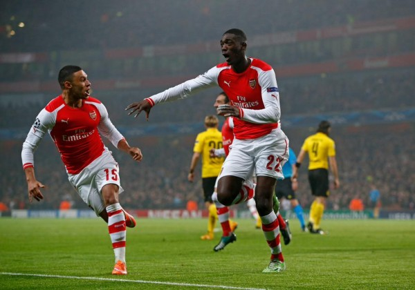 Yaya Sanogo Registered His First-Ever Arsenal Goal in Dortmund Defeat. Image: AFP/Getty.
