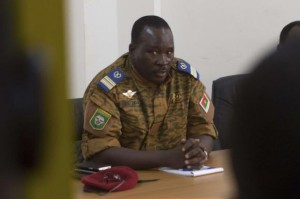 Lieutenant Colonel Yacouba Isaac Zida meets with opposition leaders in Ouagadougou, capital of Burkina Faso