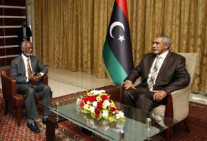 Libyan Prime Minister Omar al-Hassi meets with Sudanese Foreign Minister Ali Karti in Tripoli