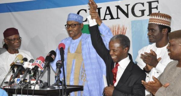 file photo: Buhari  presenting running mate Prof. Yemi Osinbajo