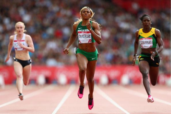 Okagbare Powers Pas Kerron Stewart and Veronica Campbell-Brown in Scotland. Image: Getty.