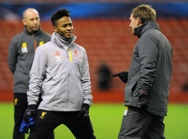 Brendan Rodgers and Raheem Sterling Chart During Training Ahead of a Champions League Game Against Basel. Image: LFC via Getty.