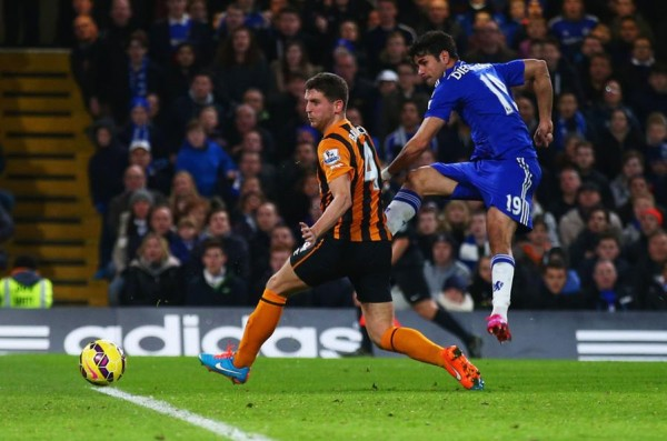 Diego Costa Smashes Home His 12th Premier League Goal of the Season. Image: Getty.