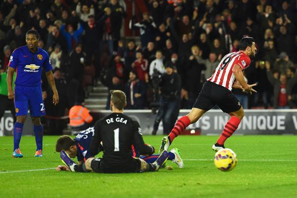 Graziano Pelle Races Away in Delight After Scoring the Equaliser Against Man Utd. Image: Getty.