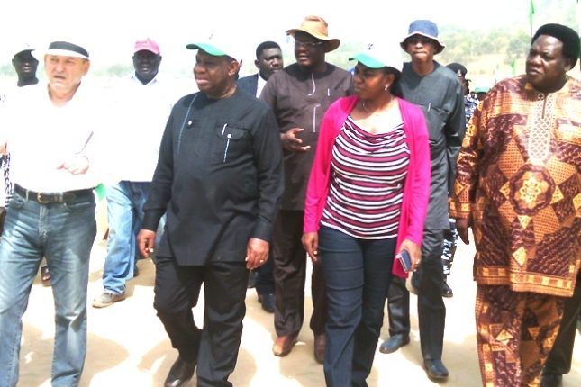 MINISTER OF WATER RESOURCES, MRS. SARAH OCHEKPE, MINISTER OF POWER, PROF. CHINEDU NEBO AND MINISTER OF TOURISM, EDEM DUKE DURING AN INSPECTION TOUR OF THE KASHIMBILA MULTIPURPOSE DAM