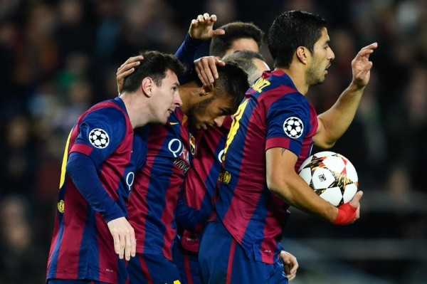 Lionel Messi Celebrates With His Barca Team-Mates After Restoring Parity at the Camp Nou. Image: Getty.