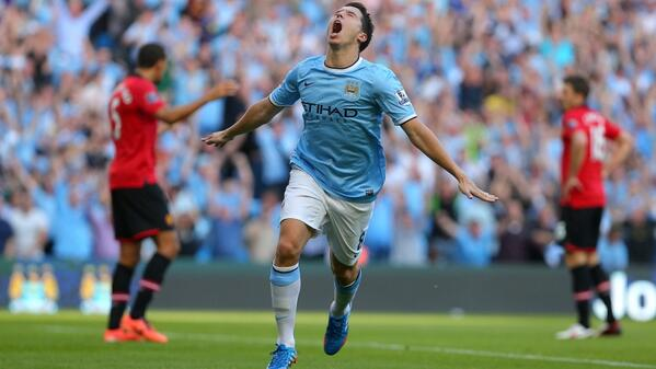 Nasri Celebrates Scoring against Man Utd during the 2013-14 Campaign. Image: Getty.