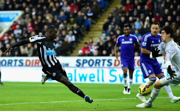 Papiss Cisse Converts His Second Goal in the 2-1 Win Over Chelsea. Image: Getty.