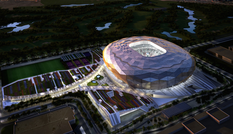 You Might Not Need This Anyway: A Model of One of the Stadiums Already in Its Developmental Stage in Qatar With Energy- Producing  Photovoltaic and Thermal Panels. Image: SCDL.