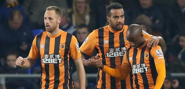 Sone Aluko Celebrates His First Premier League Goal of the Season With Team-Mates. Image: AFP.