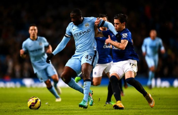Yaya Toure's Goal Against Everton Helped City Move Within Three Points of Leaders Chelsea. Image: Getty.