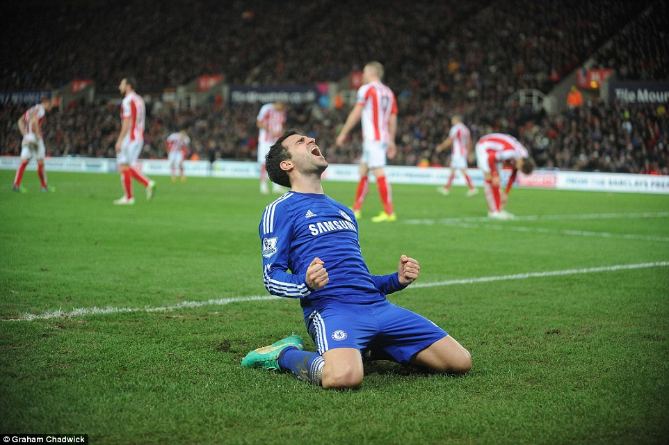 Cesc Fabregas in full spirit after scoring the decisive goal against Stoke