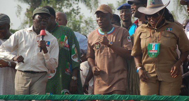 FOM LEFT: GOVERNOR ADAMS OSHIOMHOLE OF EDO STATE; DEPUTY GOVERNOR, DR PIUS ODUBU AND DR VICTORIA AMADASUN, WOMAN LEADER, APC EDO STATE AT A RALLY OF THE ALL PROGRESSIVES CONGRESS