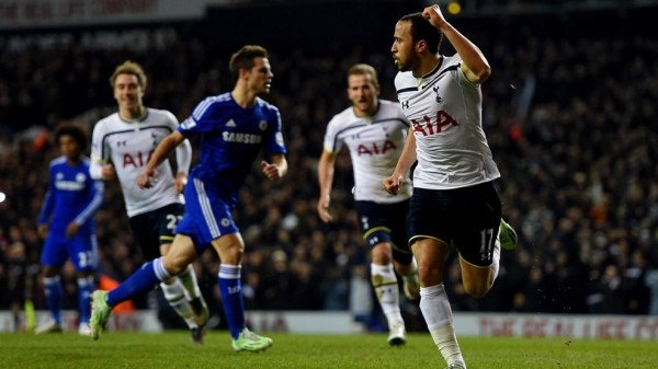 Andros Townsend Celebrates His Goal Against Chelsea at White Hart Lane. Image: Getty.