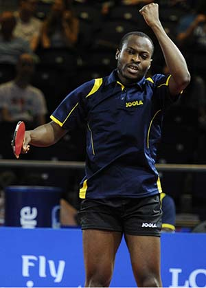 Aruna Quadri During a Quarter-Final Match against Australia in a Men's Team Event of the 2014 Commonwealth Games, Glasgow, Scotland. Image: ITTF.com/ Paul Devlin.