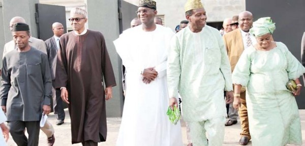 from left, Yemi Osinbajo, APC Vice Presidential Candidate; Muhammadu Buhari APC Presidential Candidate; Babatunde Fashola, Lagos State Governor; Pastor E. A. Adeboye General Overseer Redeemed Christian Church of God (RCCG) and wife, Mrs Adeboye