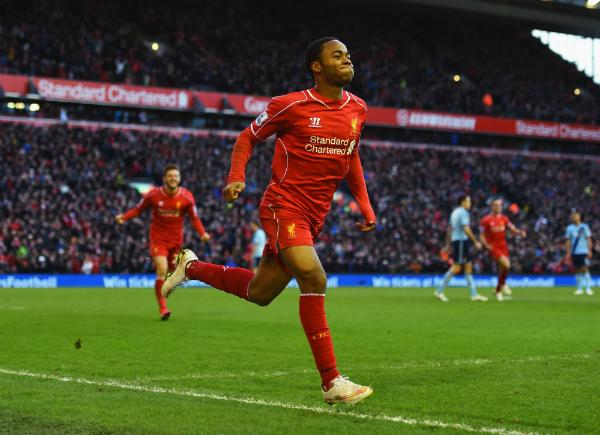 Raheem Sterling Celebrates His Eighth Goal of the Season. Image: Getty.