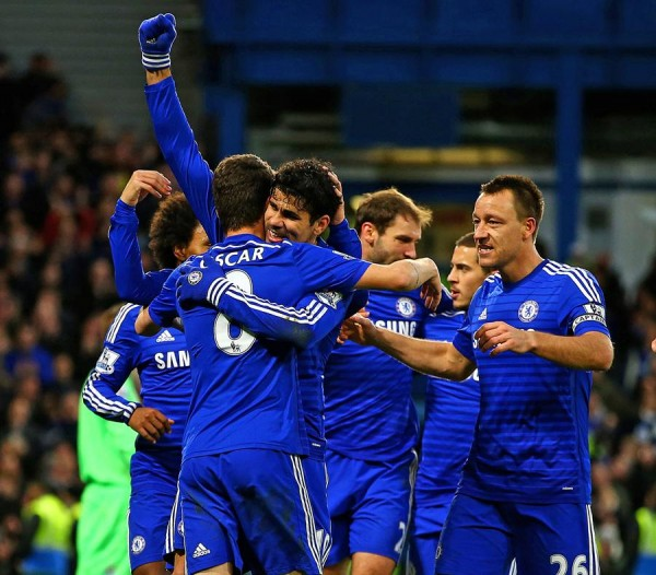 Diego Costa Celebrates With Oscar and team-Mates His 15th Goal of the 2014-15 EPL Season. Image: Getty.