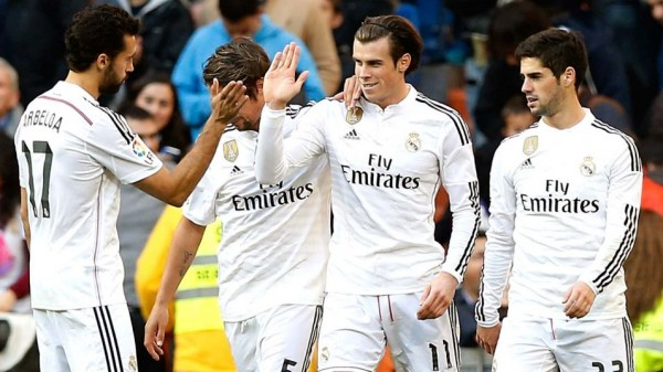 Gareth Bale Celebrates With Team-Mates Real Madrid's Second Goal Against Espanyol. Image: Getty.