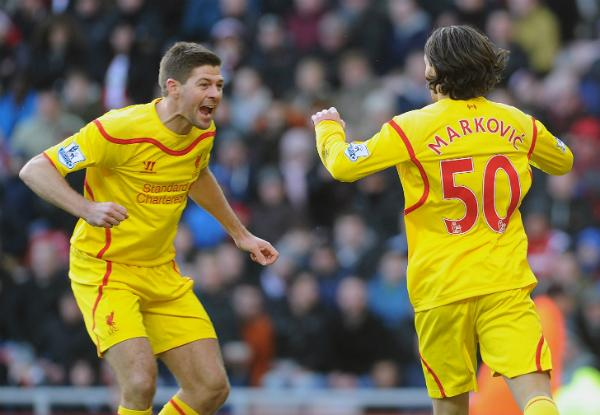 Lazar Markovic Celebrates His First Premier League Goal With Steven Gerrard. Image: Getty.