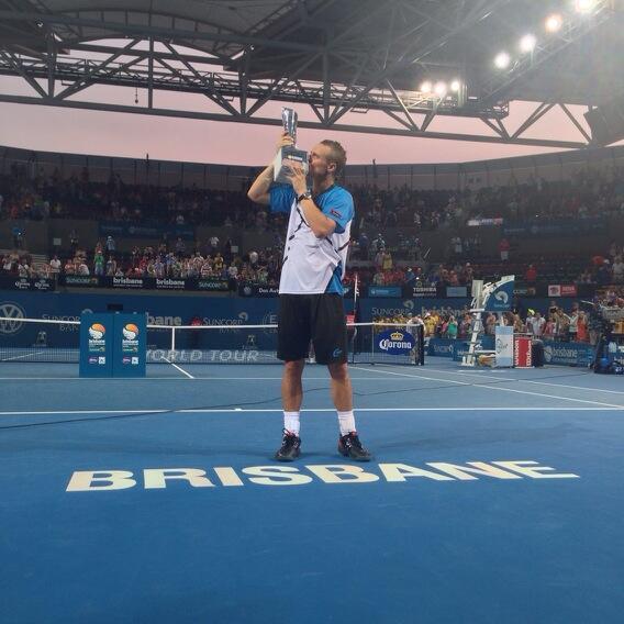 Lleyton Hewitt Celebrates Winning Brisbane Title.