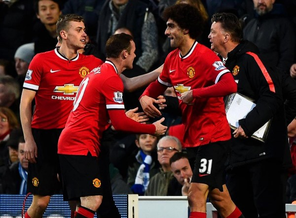 Marouane Fellaini Celebrates His Goal Against QPR With Team-mates. Image: Getty.