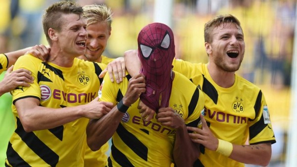 Pierre-Emerick Aubameyang Celebrates Scoring BVB's Second Goal in a German Super Cup Win Over Bayern Munich. Image: Getty.