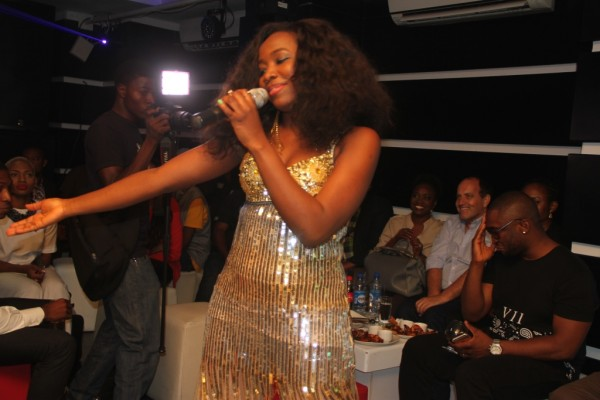 Pix 11(L-R): Nigerian Idol Season 4 winner, Evelle, performing during the media launch