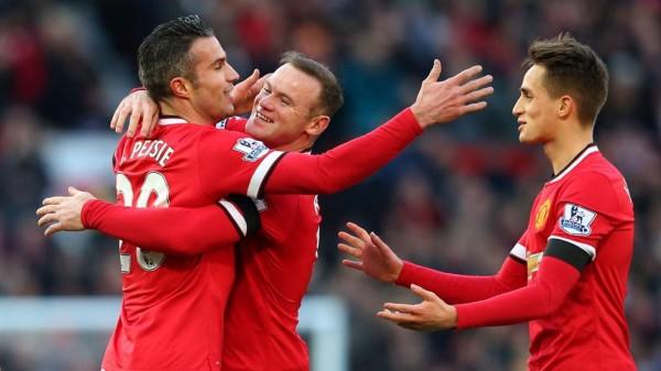 Robin van Persie and Wayne Rooney Celebrates United's Opener. Image: Getty.