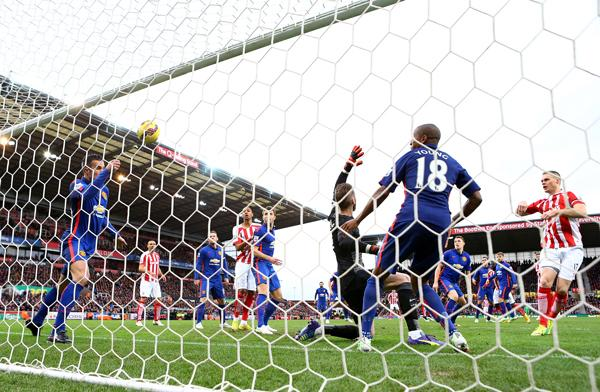 Ryan Shawcross Scores Against Manchester United at the Britannia. Image: Getty.