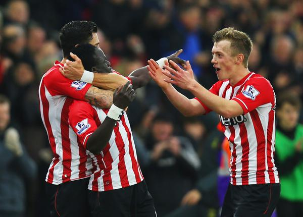 Sadio Mane Celebrates With Team-Mates Southampton's Opener. Image: Getty.
