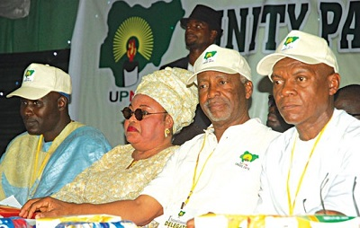 UNITY PARTY OF NIGERIA (UPN) DEPUTY NATIONAL CHAIRMAN, ALHAJI ABDULLAHI RABIU-KURA (LEFT); ITS LAGOS STATE GOVERNORSHIP CANDIDATE, MRS. DUPE ONITIRI-ABIOLA; NATIONAL CHAIRMAN, DR. FREDRICK FASHEUN