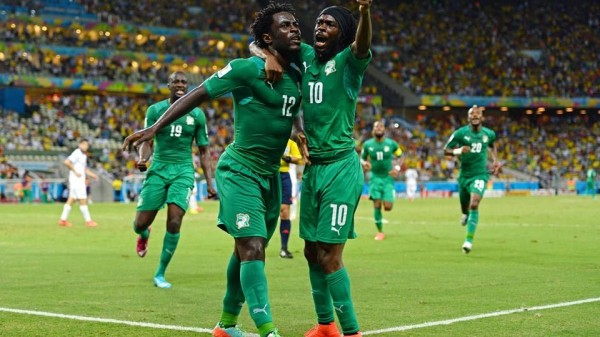 Wilfried Bony Celebrates His Equaliser Against Greece During a 2014 Fifa World Cup Group Stage Game. Image: Getty.