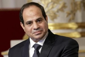 Egyptian President Abdel Fattah al-Sisi delivers a statement at the Elysee Palace in Paris