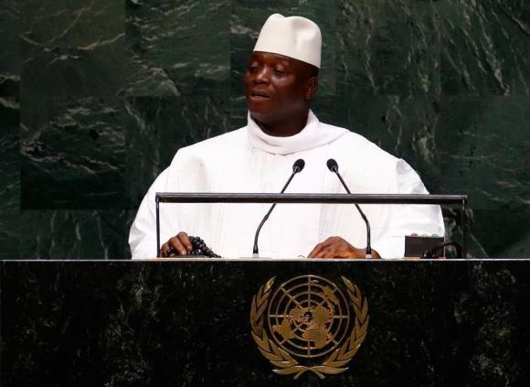 Al Hadji Yahya Jammeh, President of the Republic of the Gambia, addresses the 69th United Nations General Assembly at the U.N. headquarters in New York