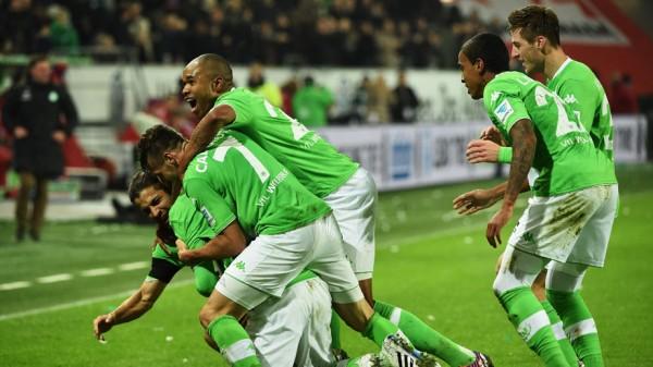 Wolfsburg Celebrate Bas Dost Goal against Bayern Munich at the Volkswagen Arena.