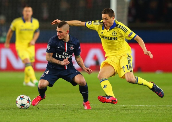 Marco Verratti and Nemanja Matic in  Midfield Tussle at the Parc des Princes. Image: AFP/Getty.