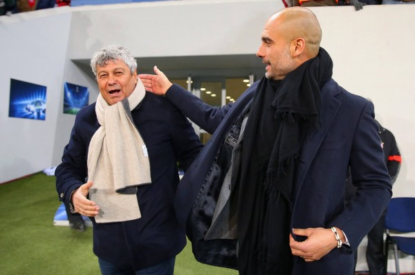 Mircea Lucescu and Pep Guardiola Before Kickoff. Image: AFP/Getty.