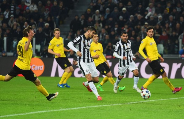 Alvaro Morata Scores From Six Yards to Help Juve Edge a Slim Victory Against Dortmund in Turin. Image: AFP/Getty.