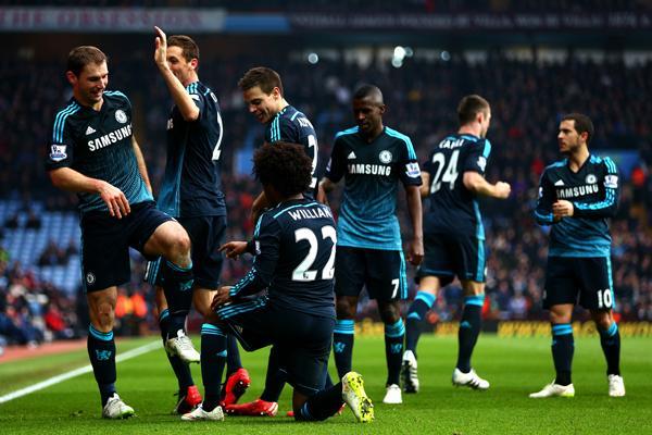 Branislav Ivanovic Celebrates With His Team-Mates after Scoring Chelsea's Winner against Aston Villa. Image: Getty.