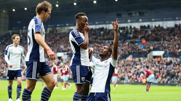 Ideye Celebrates With Saido Berahino After Scoring the Opening Goal Against West Ham in an FA Cup Fifth Round Clash. Image: Getty.