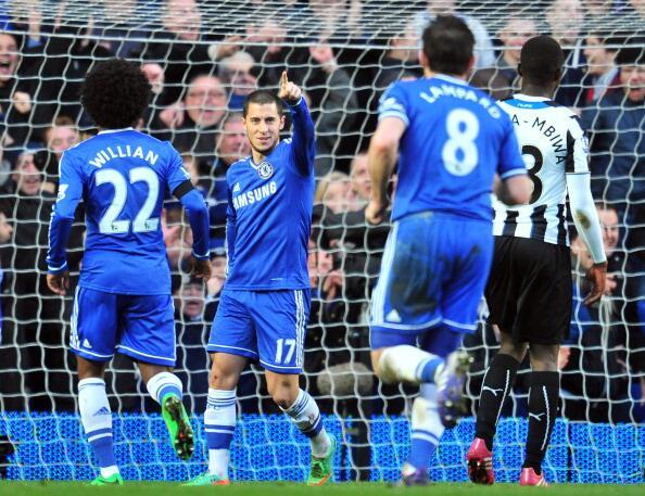 Eden Hazard Celebrates Scoring Against Newcastle United a Stamford Bridge Last Season. Image: Getty.