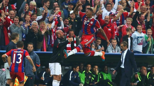 Jerome Boateng Celebrates Scoring in a Champions League Game. Image: AFP/Getty.