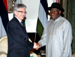 President Jonathan with outgoing French Ambassador to Nigeria, Jacques Champagne De Labriolle