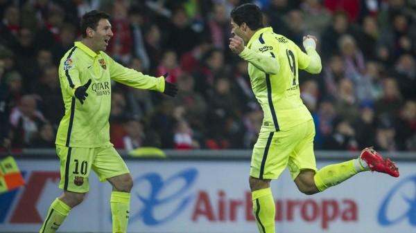 Lionel Messi and Luis Suarez Celebrate Barca Win Over Athletic. Image: Miguel Ruiz for FC Barca.