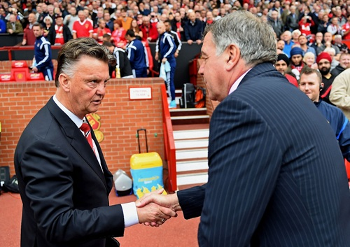 Louis van Gaal and Sam Allardyce Exchange Pleasantries after Previous Clash at Old Trafford. Image: Getty.