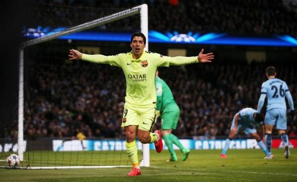 Luis Suarez Celebrates His Second Goal at the Etihad, Image: Getty.