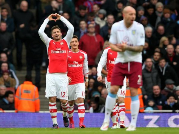 Olivier Giroud Celebrates After Putting Arsenal Ahead against Aston Villa. Image: Getty.