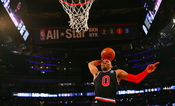 Russell Westbrook Doing One of His Slams During the 2015 All-Star Game. Image: Twitter via @DimeMag.