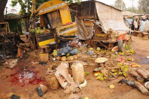 SCENE OF A BOMB BLAST ON THURSDAY NIGHT AT BAUCHI ROAD MOTOR PARK IN JOS, PLATEAU.
